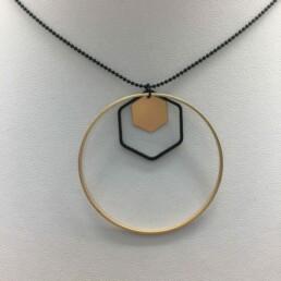wolfkat kettingen geometrics cirkels zeshoek zeshoekje goud