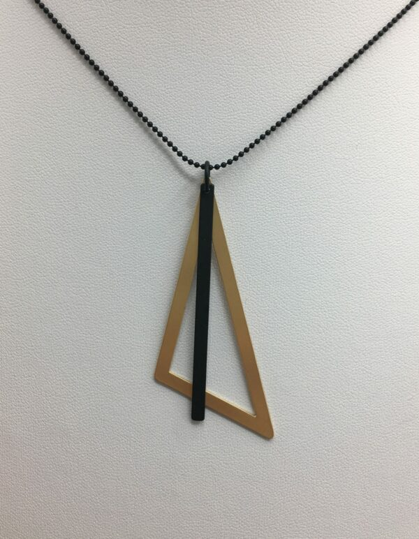 wolfkat kettingen geometrics driehoek goud staafje zwart