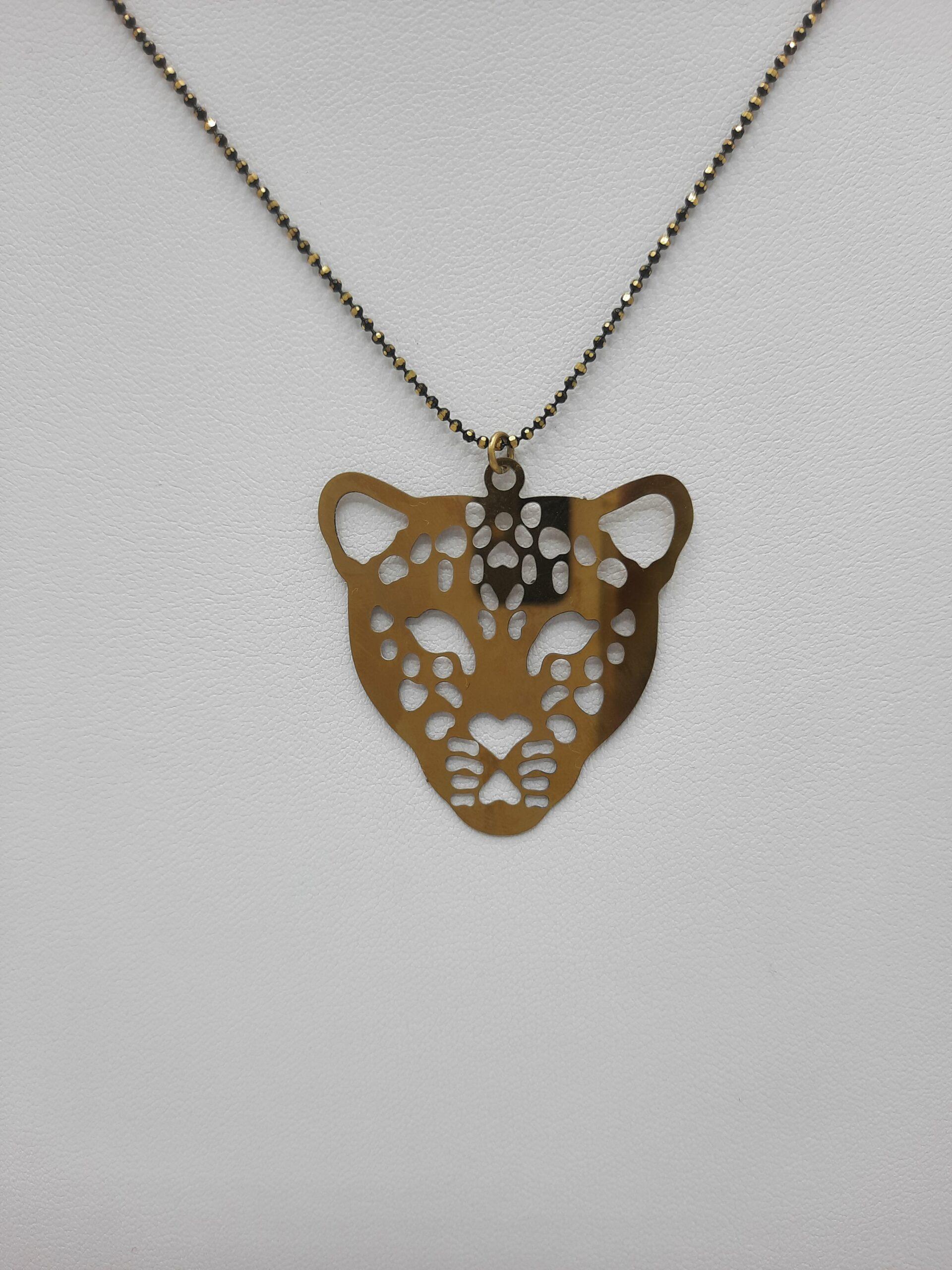 wolfkat kettingen she wolf animals luipaardkop oud goud