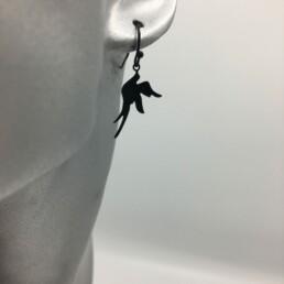 wolfkat oorbellen geometrics animals vogeltje zwart