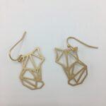 wolfkat oorbellen geometrics animals vosje goud