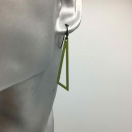 wolfkat oorbellen geometrics driehoeken open groen