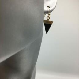 wolfkat oorbellen geometrics driehoeken steentje zwart