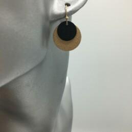 wolfkat oorbellen geometrics rondjes ovalen rondjes frosted zwart goud