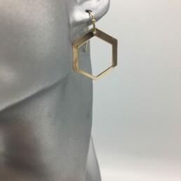 wolfkat oorbellen geometrics zeshoeken glanzend goud