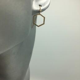 wolfkat oorbellen geometrics zeshoeken glanzend goud klein