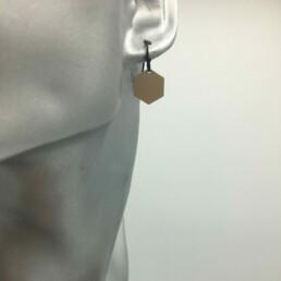 wolfkat oorbellen geometrics zeshoeken gesloten goud