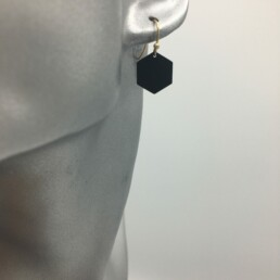 wolfkat oorbellen geometrics zeshoeken gesloten zwart