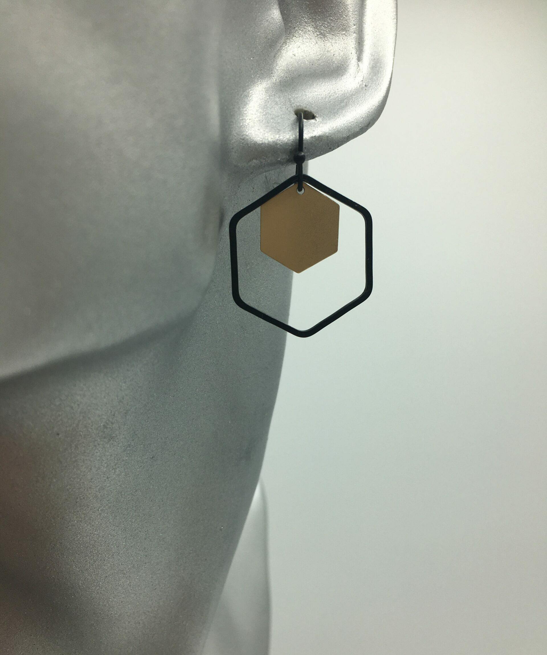 wolfkat oorbellen geometrics zeshoeken zwart goud