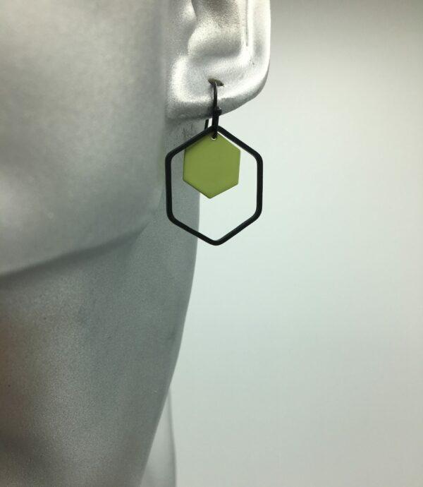 wolfkat oorbellen geometrics zeshoeken zwart groen