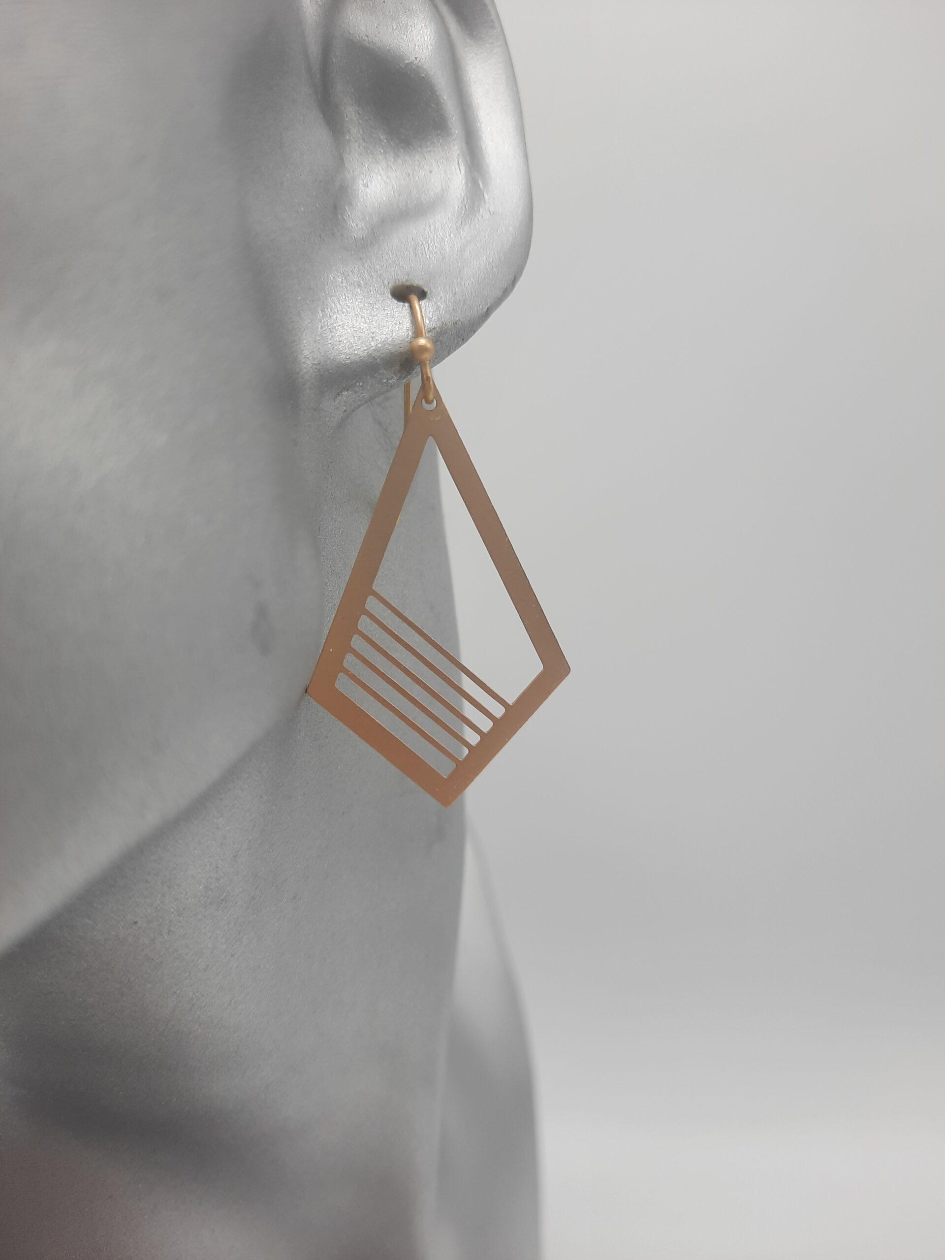 wolfkat oorbellen geometrics ruiten half gelijnd goud