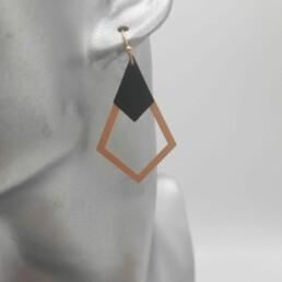 wolfkat oorbellen geometrics ruiten open goud ruitje zwart