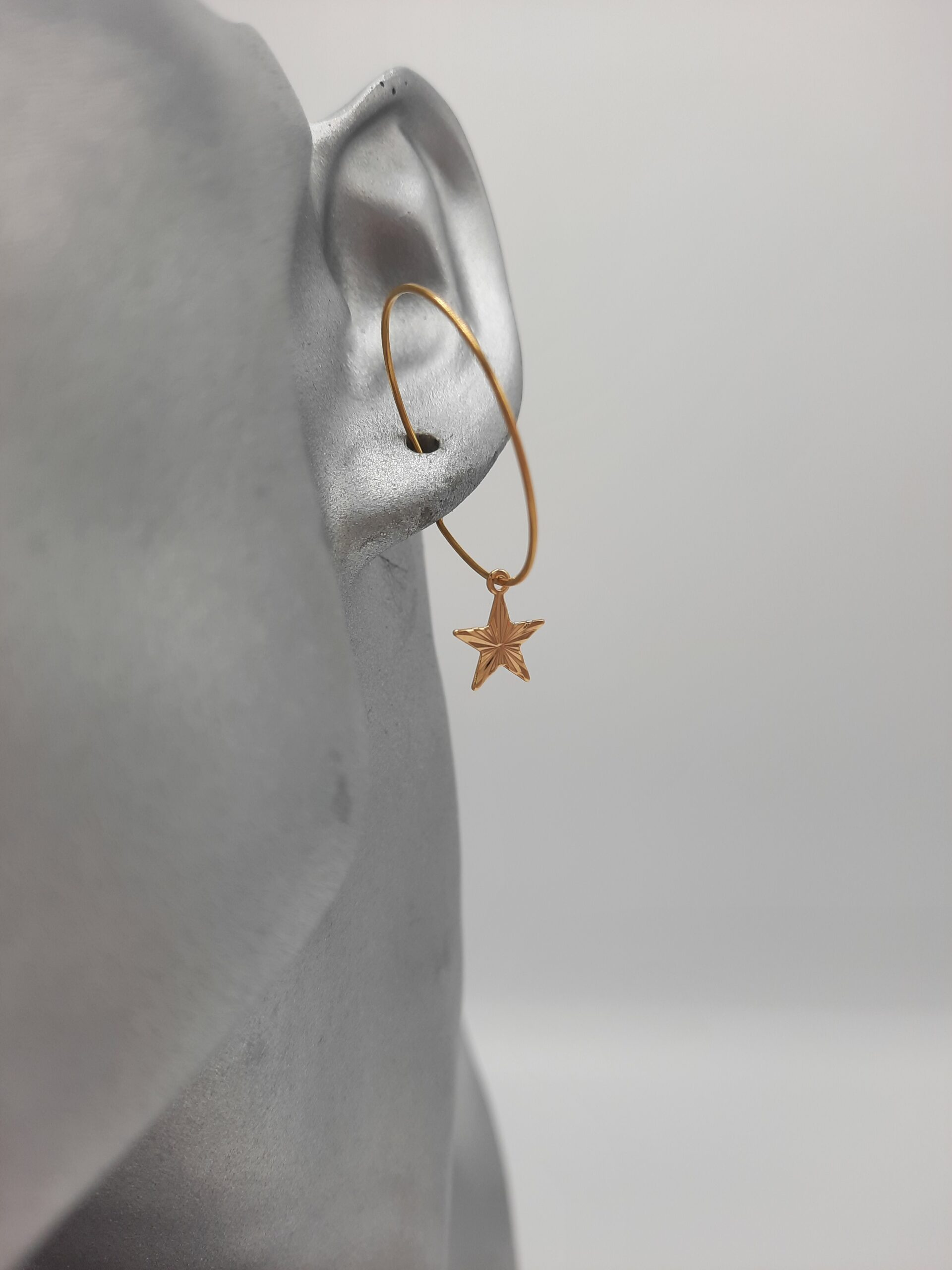 wolfkat oorbellen geometrics rondjes en ovalen cirkel met ster goud