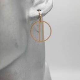 wolfkat oorbellen geometrics rondjes en ovalen rondje dubbel gelijnd goud