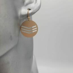 wolfkat oorbellen geometrics rondjes en ovalen rondje triple gelijnd goud