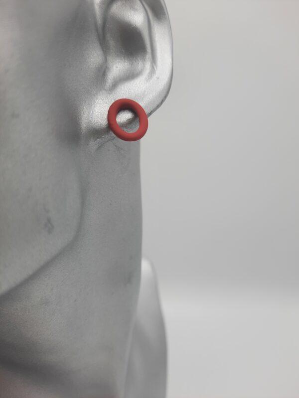 wolfkat oorbellen geometrics rondjes en ovalen ovaal stekertje rood